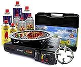 Portable Campingkocher 2,3 KW Gaskocher mit 8 Gaskartuschen + Grillplatte Grillaufsatz + Phönix PH-K01 Gasherdkreuz 12x12 cm + Flaschenöffner + Koffer