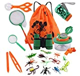 COSORO Kinder Fernglas 18 Stück Kids Adventurer Outdoor Explorer Set mit Bug Catcher Pinzette Insect Viewer Kompass Lupe & Schmetterlingsnetz für Camping