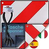 Warntafel Italien und Spanien (Schild + Tasche + Spanner) 2in1 (50 x 50 cm) - Reflektierendes Warnschild rot weiß für Heckträger u Fahrradträger