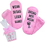Wein-Socken, Geschenk für Frauen, WENN DU DAS LESEN KANNST BRING MIR WEIN, Geburtstagsgeschenk für Freundin, Schwester-Geschenk, Hellrosa, 36-42